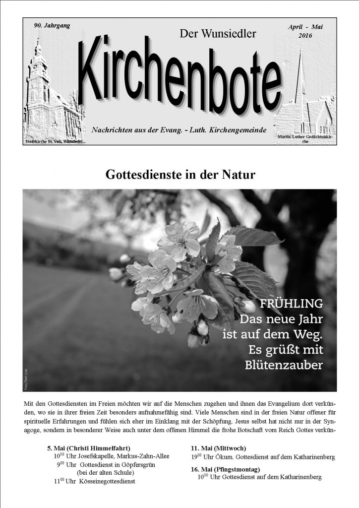 Kirchenbote April/ Mai 2016
