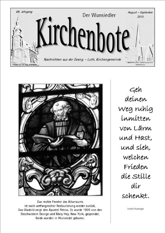 Kirchenbote August/September 2015