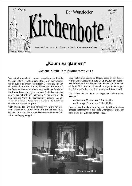 Kirchenbote Juni/ Juli 2017