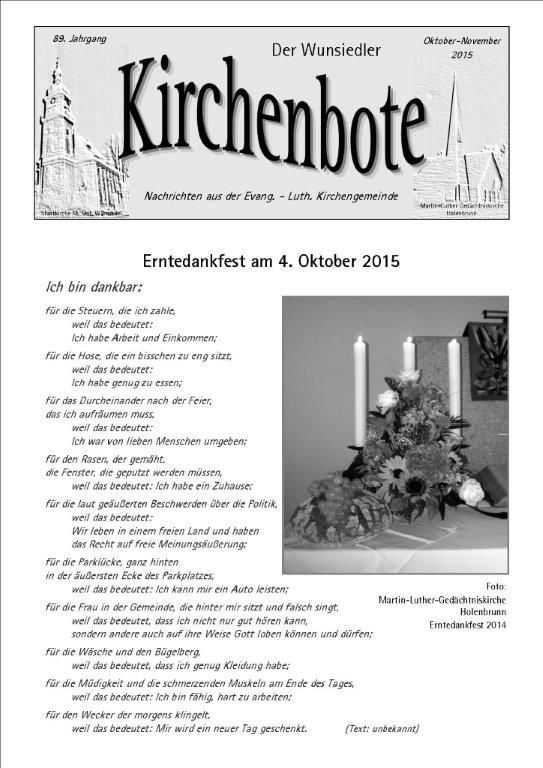 Kirchenbote Oktober/ November 2015
